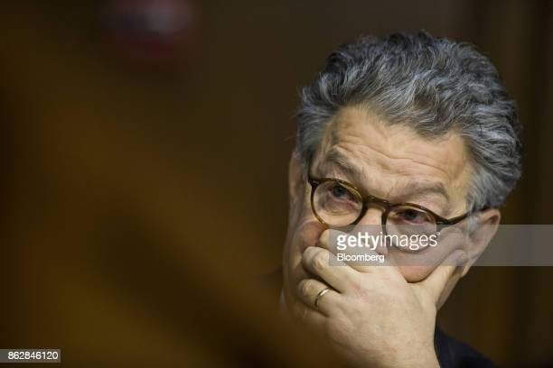 Senator Al Franken a Democrat from Minnesota listens during a Senate Judiciary Committee hearing with Jeff Sessions US attorney general not pictured...