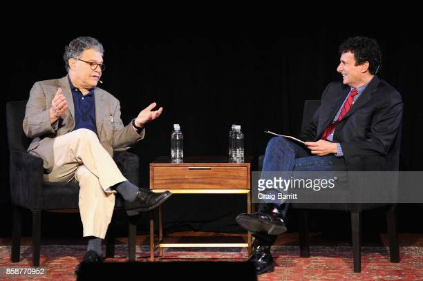 Senator Al Franken and Editor David Remnick speak onstage during Senator Al Franken Talks With The New Yorkers David Remnick at New York Society for...
