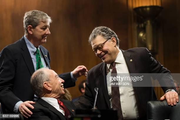 US Senator Al Franken DMinnesota talks with Senate Judiciary Committee Chairman Chuck Grassley RIowa and US Senator John Kennedy RLouisiana during a...