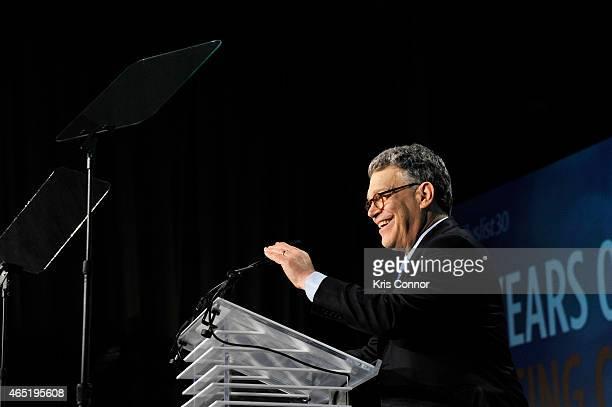 Senator Al Franken speaks at EMILY's List 30th Anniversary Gala at Washington Hilton on March 3 2015 in Washington DC