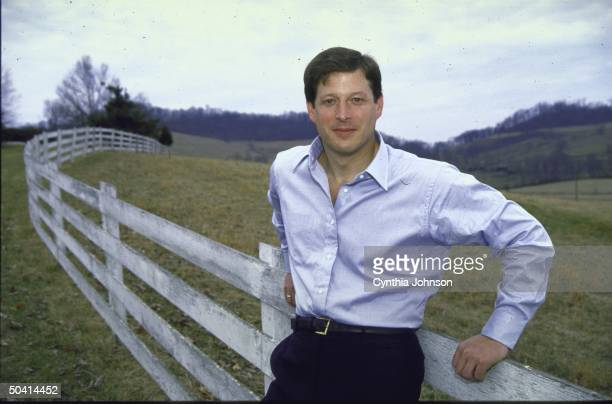Senator Al Gore posing on his farm after his victory in the Super Tuesday Presidential Primary