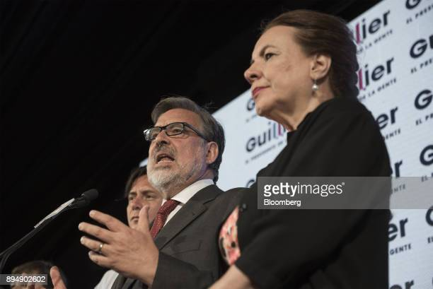 Senator Alejandro Guillier presidential candidate for the New Majority coalition speaks at the party's headquarters after the second round...