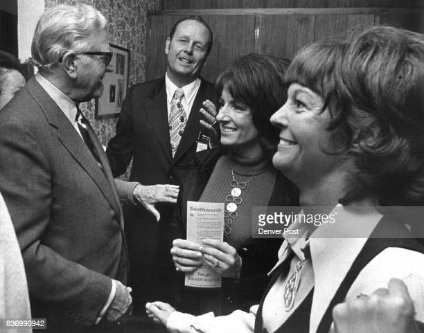 Senator Allott Helps Open Republican Districts Headquarters U S Sen Gordon Allott RColo left is greeted by State Rep Frank Southworth RDenver Mrs...