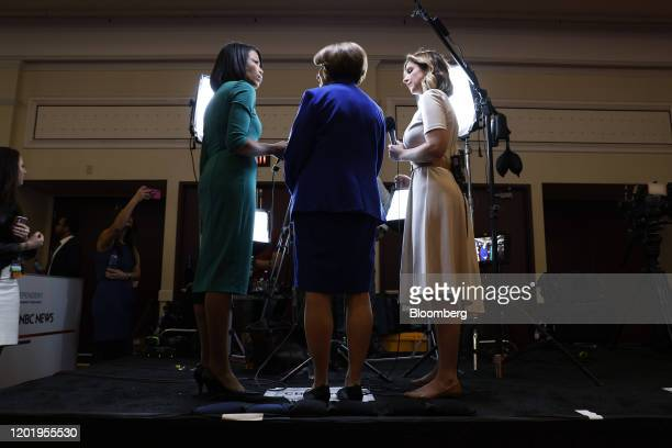 Senator Amy Klobuchar a Democrat from Minnesota and 2020 presidential candidate center speaks to members of the media following the Democratic...