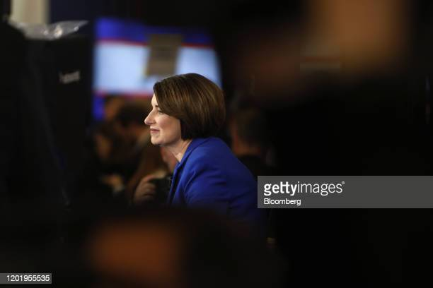 Senator Amy Klobuchar a Democrat from Minnesota and 2020 presidential candidate listens during an interview with a member of the media following the...