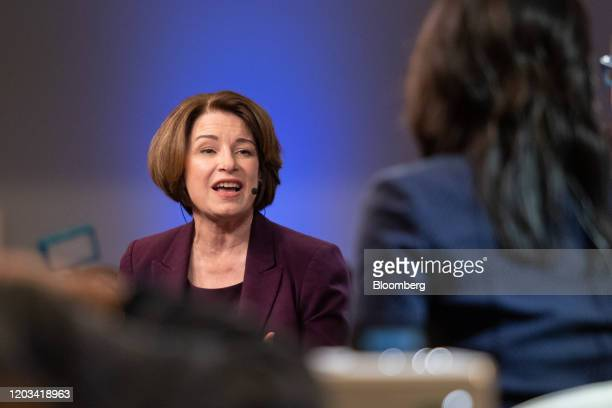 Senator Amy Klobuchar a Democrat from Minnesota and 2020 presidential candidate speaks to a member of the media following the Democratic presidential...