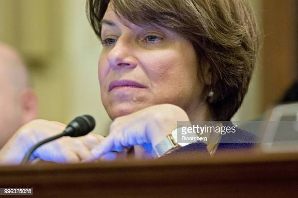 Senator Amy Klobuchar a Democrat from Minnesota and ranking member of the Senate Rules and Administration Committee listens during a hearing on...