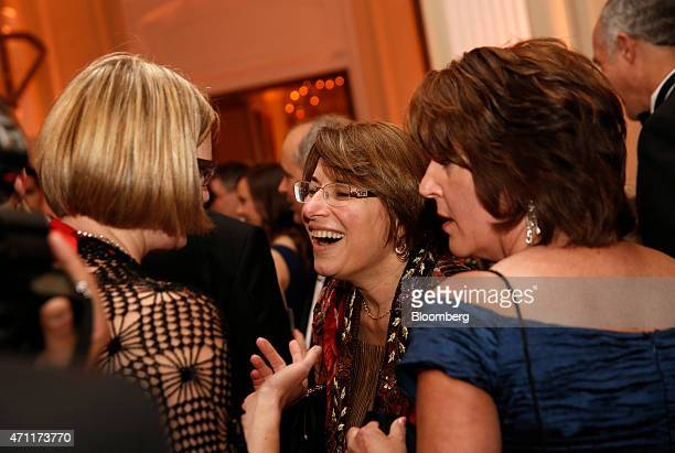 Senator Amy Klobuchar a Democrat from Minnesota center attends the Bloomberg Vanity Fair White House Correspondents' Association dinner afterparty in...