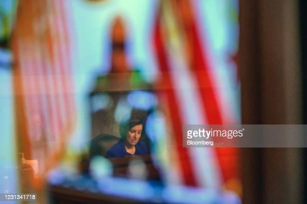 Senator Amy Klobuchar, a Democrat from Minnesota, listens during a Senate Homeland Security and Governmental Affairs and Senate Rules and...