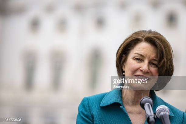 Senator Amy Klobuchar, a Democrat from Minnesota, speaks during a news conference in Washington, D.C., U.S., on Tuesday, March 17, 2021. President...