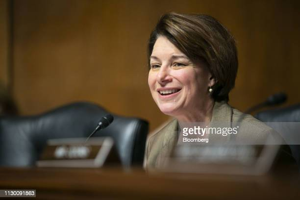 Senator Amy Klobuchar a Democrat from Minnesota speaks during a Senate Judiciary Committee hearing in Washington DC US on Tuesday March 12 2019 The...