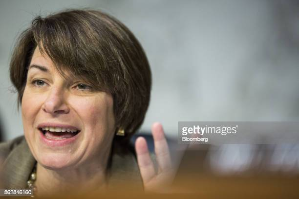 Senator Amy Klobuchar a Democrat from Minnesota speaks during a Senate Judiciary Committee hearing with Jeff Sessions US attorney general not...