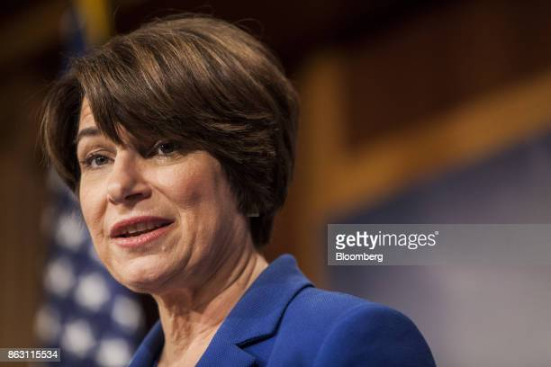 Senator Amy Klobuchar a Democrat from Minnesota speaks during a press conference introducing the Honest Ads Act in Washington DC US on Thursday Oct...