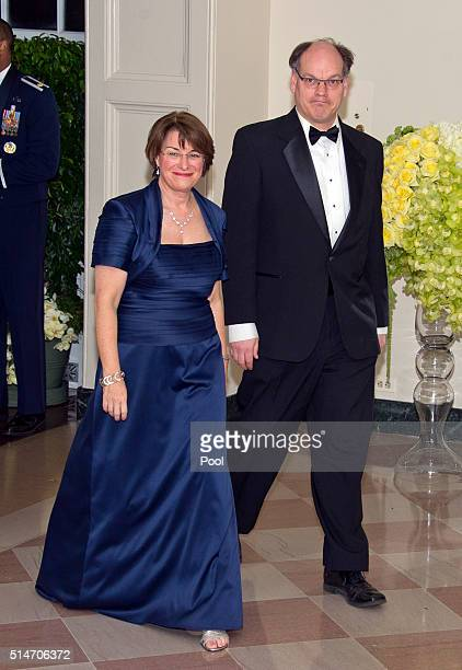 Senator Amy Klobuchar and John Bessler arrive arrive for the State Dinner in honor of Prime Minister Trudeau and First Lady Sophie Trudeau of Canada...