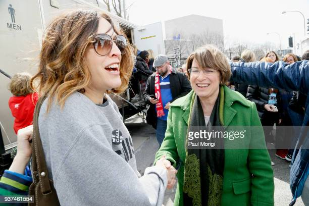 Senator Amy Klobuchar attends March For Our Lives on March 24 2018 in Washington DC