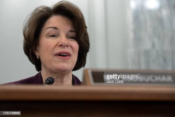 Senator Amy Klobuchar, Democrat of Minnesota, speaks during a Senate Committee on Commerce, Science, and Transportation confirmation hearing on...