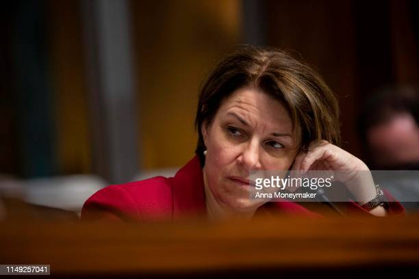 Senator Amy Klobuchar listens during a Senate Judiciary Committee hearing with Acting Homeland Security Secretary Kevin McAleenan on Capitol Hill on...