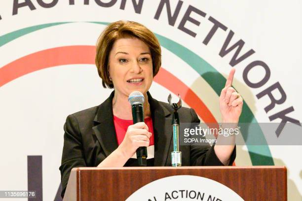 S Senator Amy Klobuchar seen at the National Action Network National convention in New York City