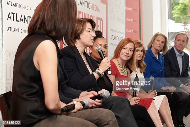 Senator Amy Klobuchar speaking at the Atlantic Media breakfast on women, fairness and power on April 30, 2016 in Washington, DC while panelists La La...