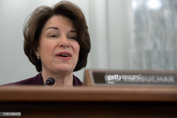 Senator Amy Klobuchar speaks during a Senate Committee on Commerce, Science, and Transportation confirmation hearing on Capitol Hill on April 21,...