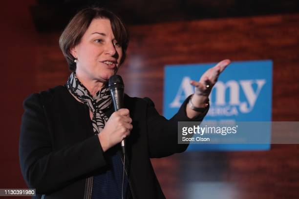 S Senator Amy Klobuchar speaks to guests during a campaign stop at the Marion County Democrats soup luncheon at the Peace Tree Brewing Company on...