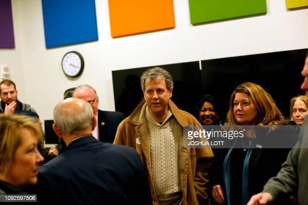 US Senator and 2020 presidential candidate Sherrod Brown and his wife Connie Schultz take a tour of the University of Northern Iowa's Tech Works...