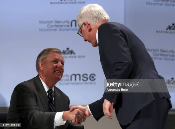 US senator and chairman of the Senate Committee on the Judiciary Lindsay O Graham shakes hand with Poland's foreign minister Jacek Czaputowicz before...