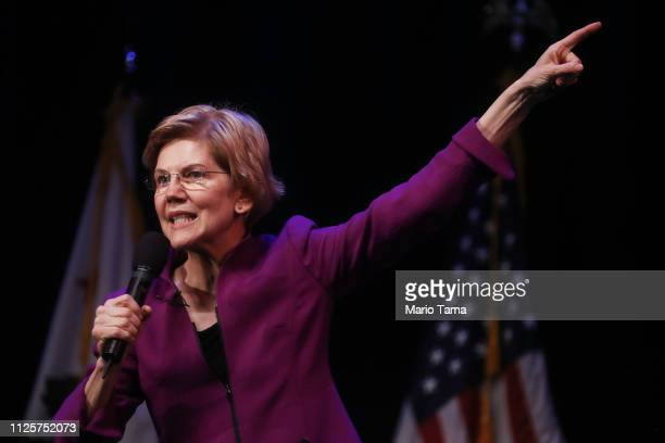 S Senator and Democratic presidential candidate Elizabeth Warren speaks at an organizing event on February 18 2019 in Glendale California Warren is...