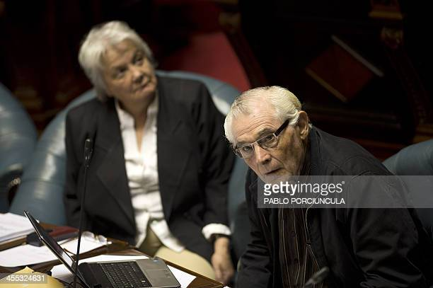 Senator and former Agriculture minister Ernesto Agazzi of the ruling Frente Amplio takes part in the parliament discussion of a law on the...