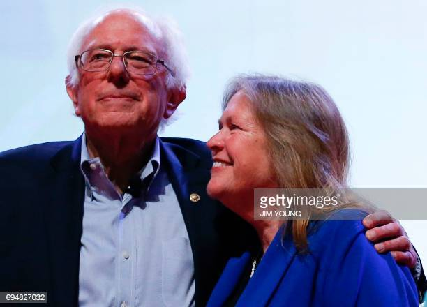 US Senator and former Presidential candidate Bernie Sanders is joined on stage with his wife Jane after speaking at The People's Summit in Chicago...