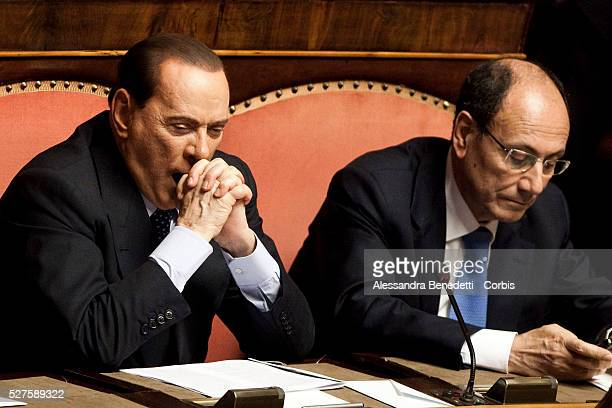 Senator and Leader of PDL Party Silvio Berlusconi attends a confidence vote for the new Italian Government led by Newly designated Italian Prime...