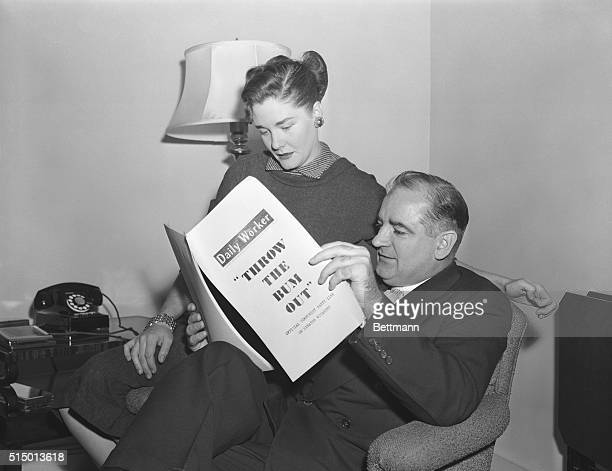 Senator and Mrs. Joseph R. McCarthy are shown at the home this morning as the Senate prepared to reconvene today to consider recommendations for his...