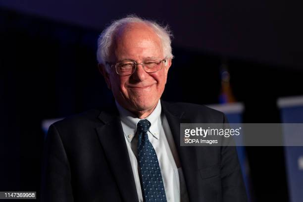 S Senator and presidential candidate Bernie Sanders smiles during the the Unity and Freedom Forum on immigration policy in Pasadena California The...