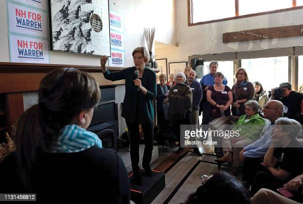 S Senator and presidential candidate Elizabeth Warren speaks to supporters at the home of former US Ambassador to Saudi Arabia Jim Smith and Janet...