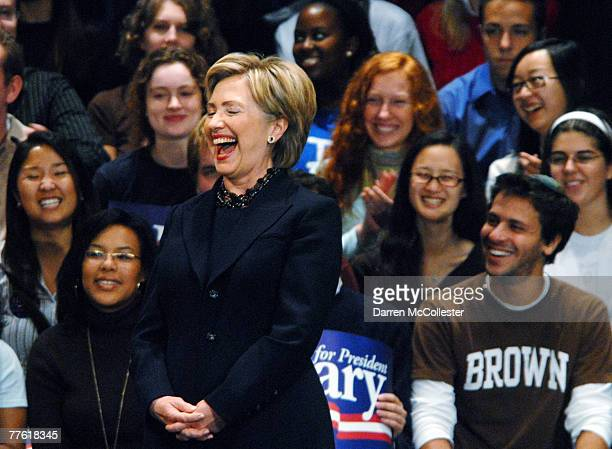 S Senator and presidential candidate Hillary Clinton laughs as she is introduced to the crowd at her alma mata at Wellesley College November 1 2007...