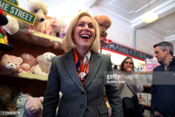 S Senator and presidential candidate Kirsten Gillibrand visits Whirlygigs Toy Shop in Exeter NH on Feb 16 2019