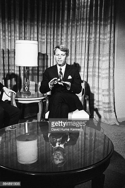Senator and presidential candidate Robert F Kennedy during a TV interview with ABC journalist Sander Vanocur at the Ambassador Hotel only hours...