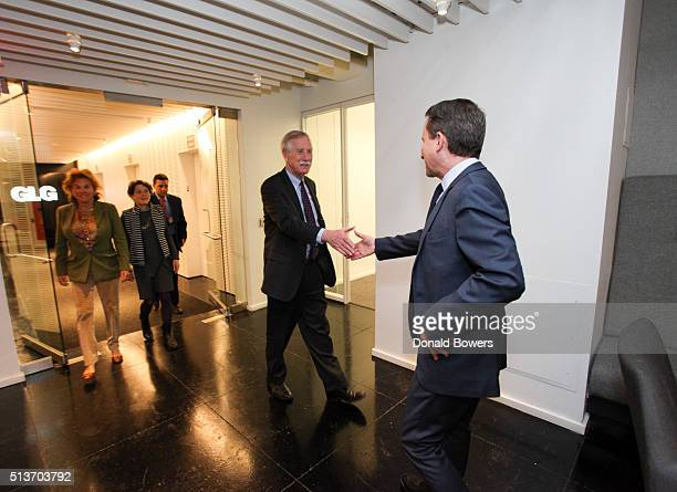 Senator Angus King and Richard Socarides Head of Public Affairs at GLG visit GLG on March 4 2016 in New York City Photo by Donald Bowers/Getty Images...