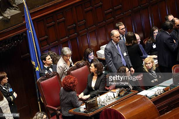 Senator Anna Finocchiaro chats with President of Chamber of Deputies Laura Boldrini during the vote for new President of Republic at Italian...
