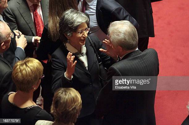 Senator Anna Finocchiaro leader of Senate's Democratic Party and Mario Monti attend the Italian Parliament inaugural session on March 15 2013 in Rome...
