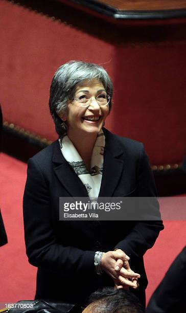 Senator Anna Finocchiaro leader of Senate's Democratic Party attends the Italian Parliament inaugural session on March 15 2013 in Rome Italy The new...
