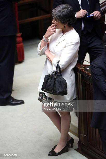 Senator Anna Finocchiaro of the PD attends as Parliament votes for President of Republic on April 18 2013 in Rome Italy More than 1000 politicians...