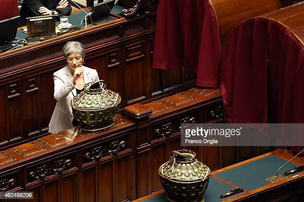 Senator Anna Finocchiaro votes for new President of Republic at Italian Parliament Palazzo Montecitorio on January 29 2015 in Rome Italy Giorgio...