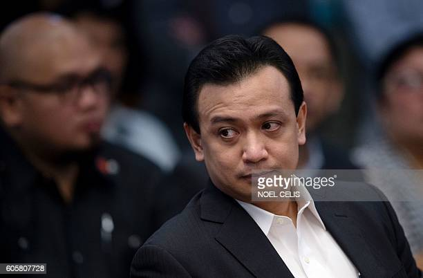 Senator Antonio Trillanes attends a senate hearing in Manila on September 15 2016 Rodrigo Duterte shot dead a justice department employee and ordered...