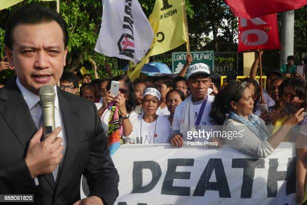 Senator Antonio Trillanes came out to the protesters Human rights advocates and people who are against Death Penalty has rallied at the entrance of...