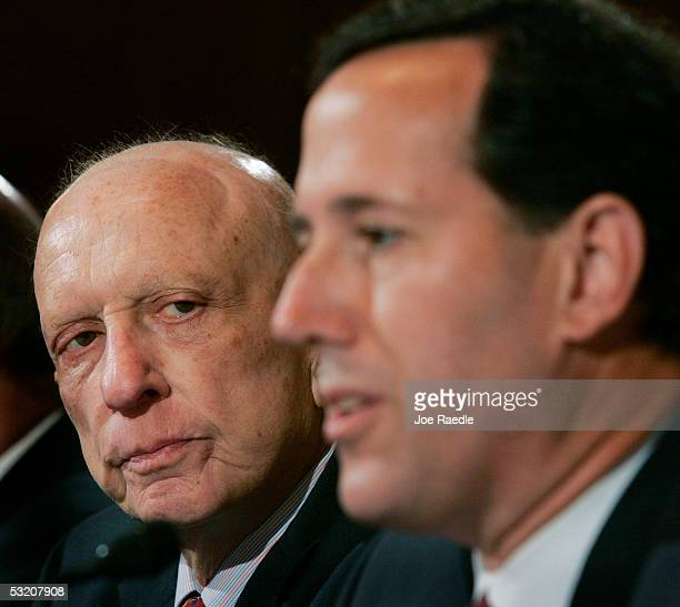 S Senator Arlen Specter and US Senator Rick Santorum testify at the the Base Realignment and Closure Commission hearing July 7 2005 in Washington DC...