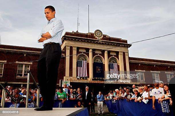 Senator Barack Obama at a Campaign rally in Lancaster Pennsylvania
