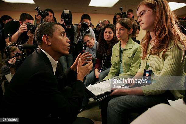 Senator Barack Obama chats with Zoe Russell , Aida Villarreal-Licona and her sister Sophia during a press conference before for a campaign rally at...