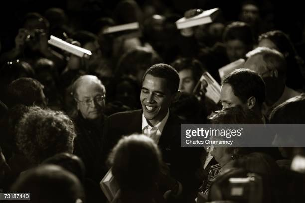 Senator Barack Obama greets supporters during a visit to a 2006 Election Celebration hosted by the New Hampshire Democratic Party on December 10,...