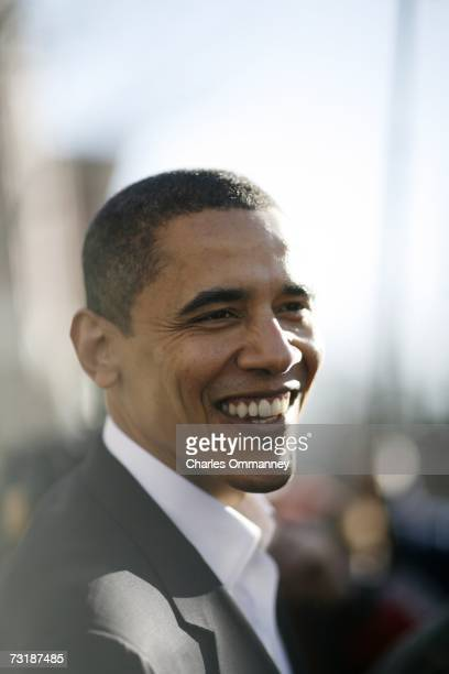 Senator Barack Obama greets supporters during a visit to a 2006 Election Celebration hosted by the New Hampshire Democratic Party December 10 2006 in...
